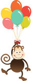 Cute monkey flying with balloons Stock Image