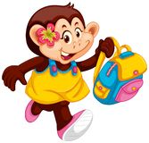 Cute monkey girl with backpack. Illustration vector illustration