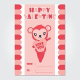 Cute monkey girl brings pink heart  cartoon illustration for Happy Valentine card design. Postcard, and wallpaper Stock Photography
