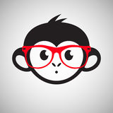 Cute monkey in glasses, vector Stock Image