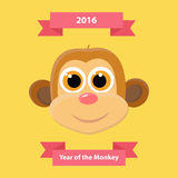 Cute monkey happy new year greeting card. 2016 new year symbol. Vector illustration Stock Photography