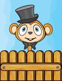 Cute monkey with hat and bow Royalty Free Stock Photo