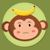 Cute Monkey Head Cartoon Vector Stock Photo