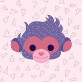 Cute Monkey head in pastel pink colors. Royalty Free Stock Image