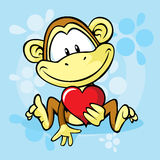 Cute monkey with heart Stock Image