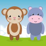 Cute monkey and hippo in the field landscape characters. Vector illustration Stock Photo