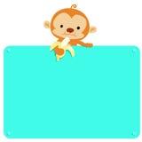 Cute Monkey hold banana and blank board  Stock Image