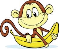 Cute monkey hold banana - vector. Illustration Royalty Free Stock Image