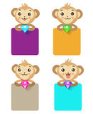 Cute Monkey Holding Jewelry And Various Sign. Set Of Monkey. Stock Photography