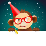 Cute monkey holding white page, Christmas card. Cute funny monkey holding white page, greeting Christmas card, vector illustration Royalty Free Stock Photography