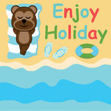 Cute monkey lie down on the beach  cartoon, Summer postcard, wallpaper, and greeting card. T-shirt design for kids Royalty Free Stock Image