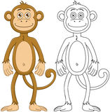 Cute Monkey With Lineart Royalty Free Stock Photos