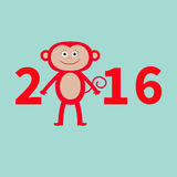 Cute monkey. New Year 2016.  Baby illustration. Greeting card. Blue background. Flat design Royalty Free Stock Photos