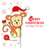 Cute monkey for new year 2016. Christmas card with a cute monkey Vector Illustration