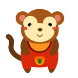 Cute monkey in red jumpsuit. Cartoon kawaii animal character. Vector illustration for kids and babies fashion.  Royalty Free Stock Photography