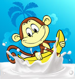 Cute monkey ride banana in milk splash - funny vector Royalty Free Stock Photo
