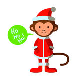 Cute monkey in Santa costume, Merry Christmas, Happy New Year Royalty Free Stock Image