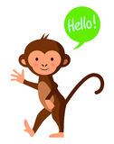 Cute monkey saying 'hello', vector illustration Stock Images