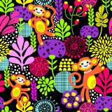 Cute monkey seamless texture with flowers Stock Photos