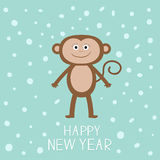 Cute monkey on snow background. Happy New Year 2016.  Baby illustration. Greeting card  Flat design Royalty Free Stock Photo