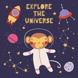 Cute monkey in space royalty free illustration