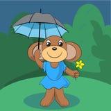 Cute monkey standing on green meadow  Stock Image