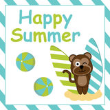Cute monkey is standing beside surfing board  cartoon, Summer postcard, wallpaper, and greeting card Stock Images