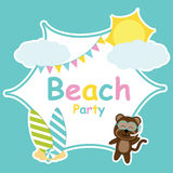 Cute monkey, sun, and colorful flag frame vector cartoon, Summer postcard, wallpaper, and greeting card Stock Photography