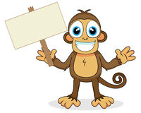 Cute monkey with wood sign Stock Photo