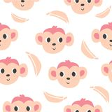 Cute monkeys and bananas seamless pattern stock illustration