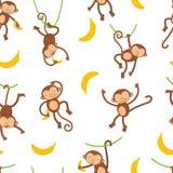 Cute monkeys pattern Royalty Free Stock Photography