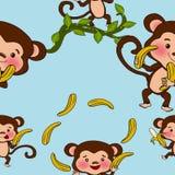Cute monkeys seamless Royalty Free Stock Image