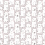 Cute monochrome Cats. Cartoon vector seamless pattern. Royalty Free Stock Photos