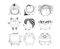 Cute monochrome collection with hand drawn doodle sphere monsters,  on white background. Lovely characters staying and wat Royalty Free Stock Image