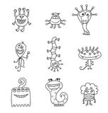 Cute Monster and Aliens Collection Set. Cute Monsters and Aliens isolated on white background. Collection Set of pretty monsters Royalty Free Stock Photography