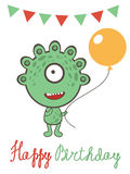 Cute monster birthday card Stock Image