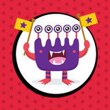 Cute Monster Birthday Card Royalty Free Stock Photography