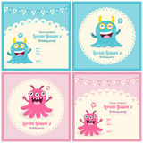 Cute Monster birthday card Stock Images
