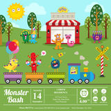 Cute monster birthday invitation Stock Images