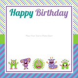 Cute monster birthday invitation Stock Photo