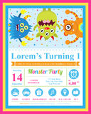 Cute monster birthday invitation Stock Photography