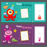 Cute monster birthday invitation Royalty Free Stock Photo