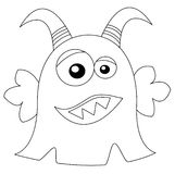 Cute monster in black & white. Friendly smiling monster in black and white; which could be used for coloring book pages for kids Stock Photos
