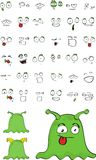 Cute monster cartoon expressions set Royalty Free Stock Image