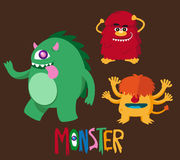 Cute monster cartoon set 2 Royalty Free Stock Images