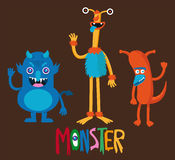 Cute monster cartoon set. Cute monster  cartoon set characters Royalty Free Stock Images