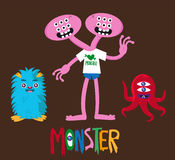 Cute monster cartoon set 3 Stock Images