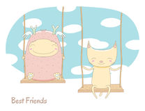 Cute monster and cat on a swing Royalty Free Stock Photo