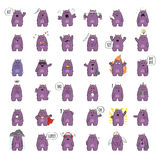 Cute monster character. Set of cute monster character in various poses and with various emotions. Raster illustration vector illustration