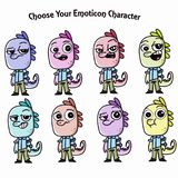 cute monster characters with different faces and emotions vector illustration